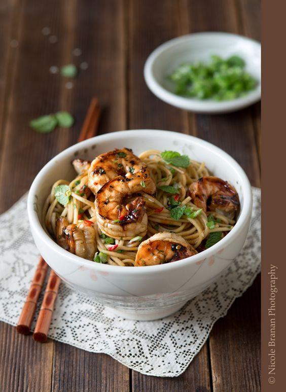 Asian Noodle Salad (Soy, Rice Vinegar, Garlic, Honey, Chili Pepper, Sesame Oil, Cilantro, Lime, Ginger, Soba Noodles, Scallions)