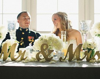 Gold Glitter Mr And Mrs Wedding Signs For Sweetheart Table Decor Wooden Letters Large Thick