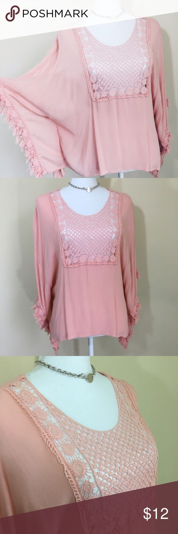 Batwing Top Beautiful pink colored bat wing sleeve with Crotchet like pattern on top. Boho chic inspired. NWOT has just been in storage from my move. Tops