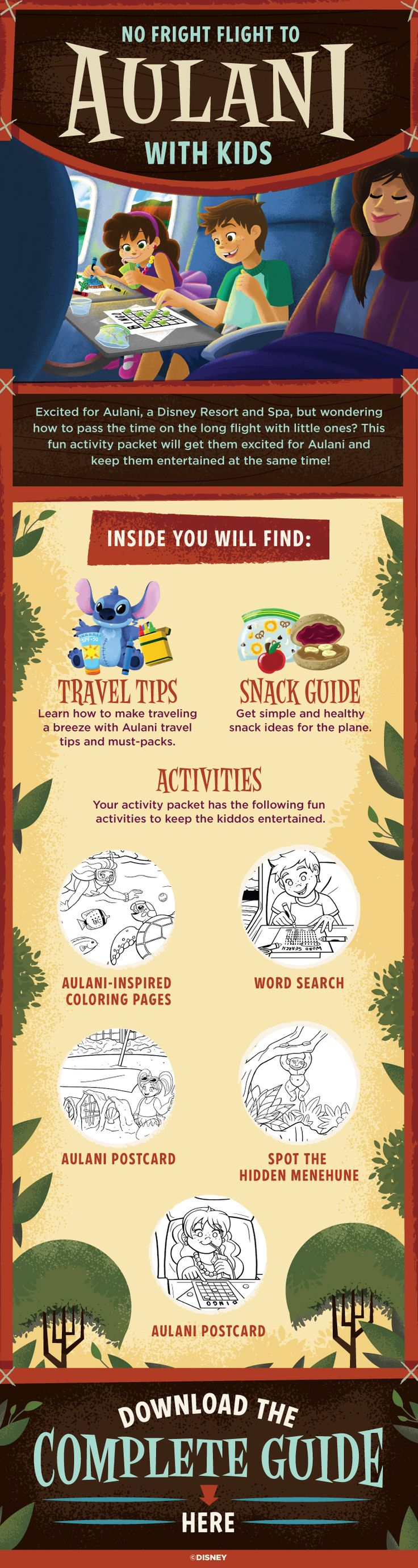 Excited for your upcoming Hawaii vacation to Aulani but wondering how to pass the time with the little ones? This fun activity packet will get them excited for the trip and keep them entertained! Click to find travel tips, snack guides, coloring pages, word searches and more!