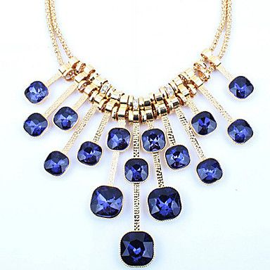 European Style Crystal Geometry Square Necklace – USD $ 13.99