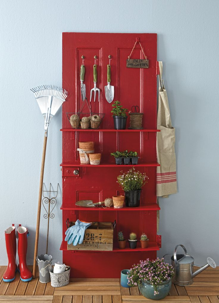 Potting-shed door -- turn an old door into a shelving unit