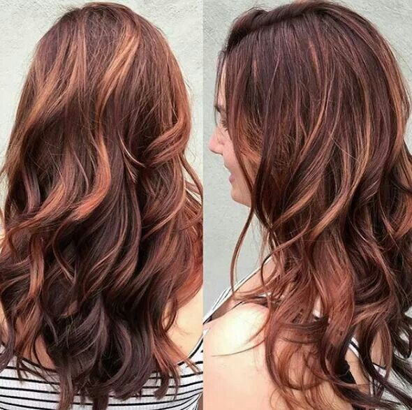 Mahogany Red With Copper Balayage Look Book In 2019