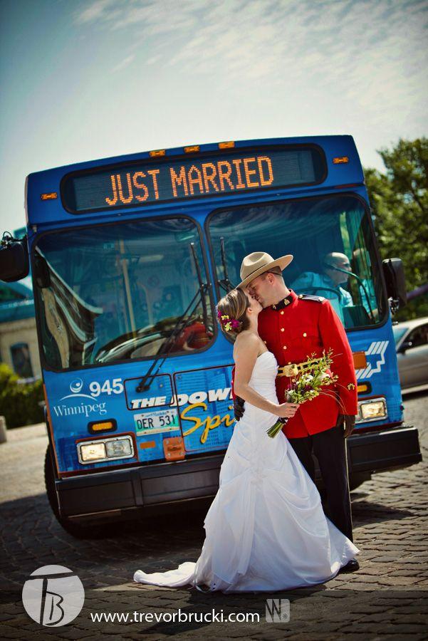 RCMP Wedding photography.  Winnipeg transit.