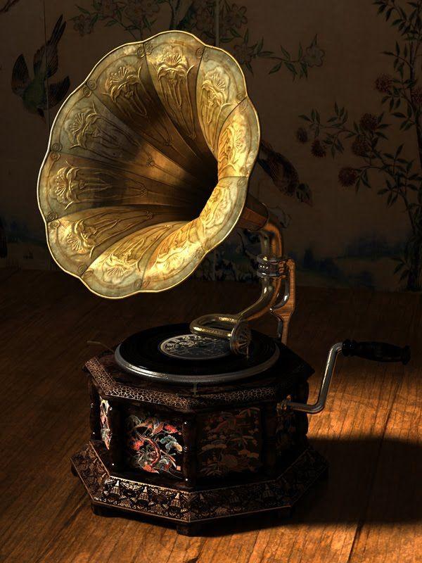 Gramophone, aka Record player. Ain't it cute?!