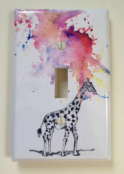 Giraffe Decorative Light Switch Cover Great Giraffe room decor for kids and baby nursery decor. $12.00, via Etsy.