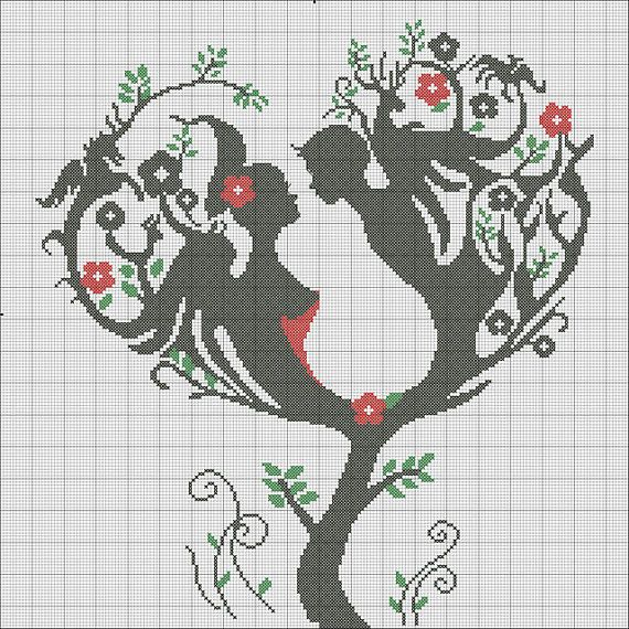 wedding  patterns counted cross stitch lover PDF - Instant download