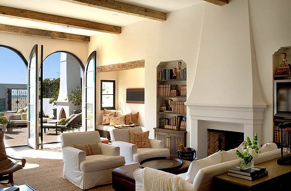 great room feel- the warmth and texture of wood.  i also love the simplicity of the fireplace.