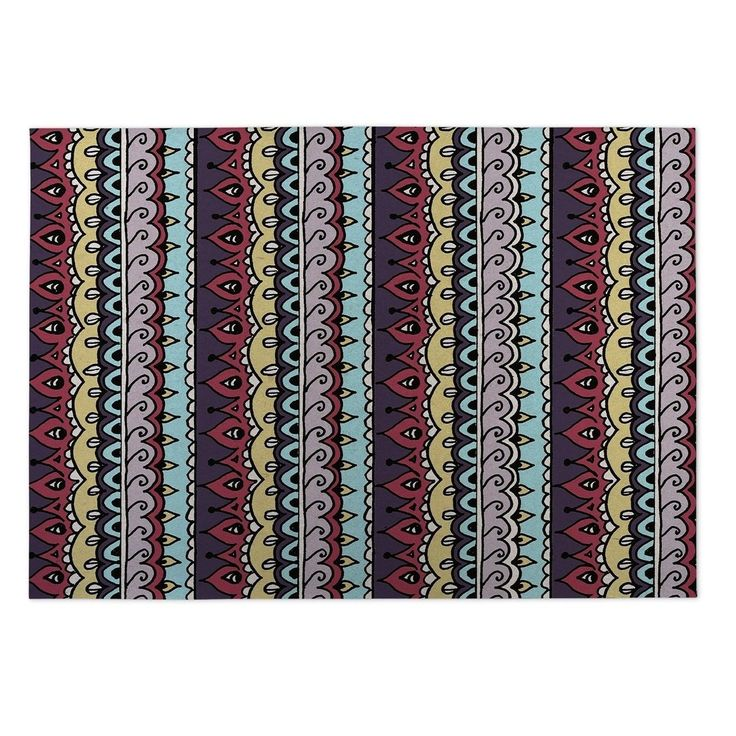 Kavka Designs Blue/ Purple/ Yellow/ Red Dimensions Indoor/Outdoor Floor Mat ( 4' X 6' ) (Blue - Bohemian - Stripe), Size 4' x 5'