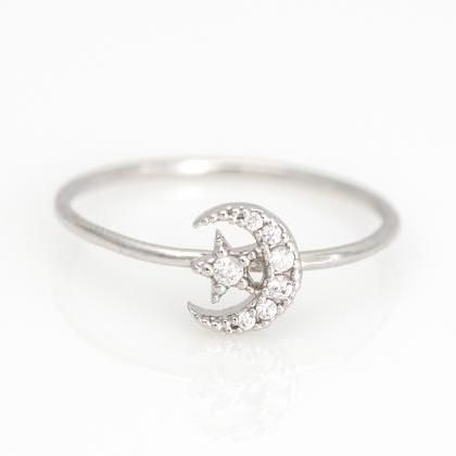 moon and star ring,gold,silver