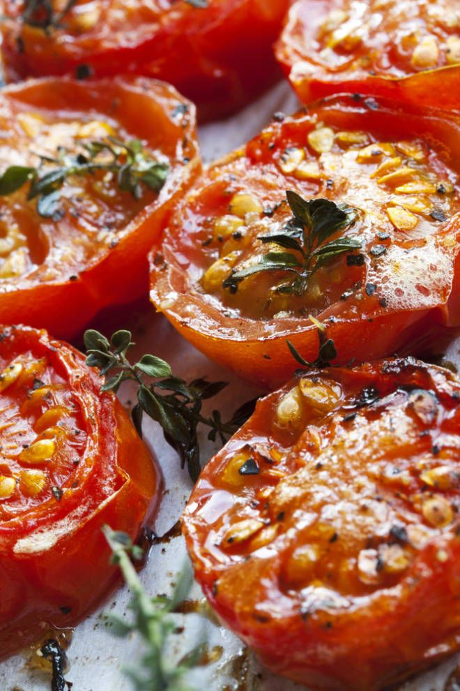 Balsamic Roasted Tomatoes These are amazing in whole wheat with fresh basil leaves! Yummy summer sandwich. Also I swapped palm sugar in instead of brown sugar