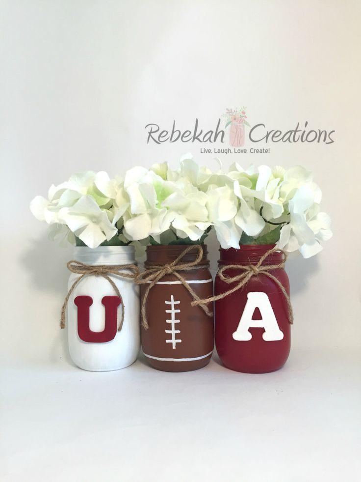 University of Alabama Mason Jars, Alabama Dorm Decor, Roll Tide, Alabama Crimson Tide, Alabama Tailgate by RebekahCreations on Etsy https://www.etsy.com/listing/245959243/university-of-alabama-mason-jars-alabama