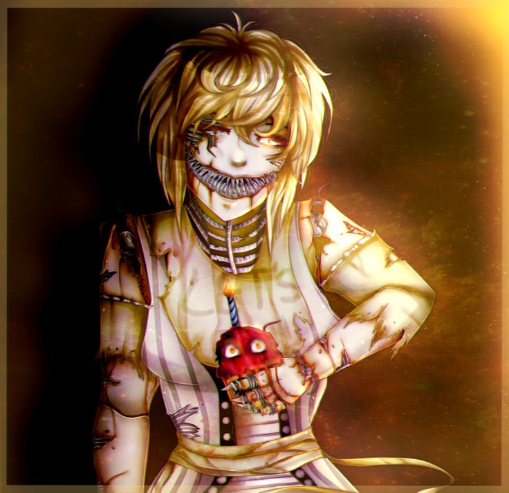 Hi. I'm Nightmare Chica. I don't have a crush. I have my own cupcake named Carl. He can be a bit vicious. I am friends with Fredbear, Freddy, Bonnie, Mangle, and Foxy. (Nightmares beside Mangle)
