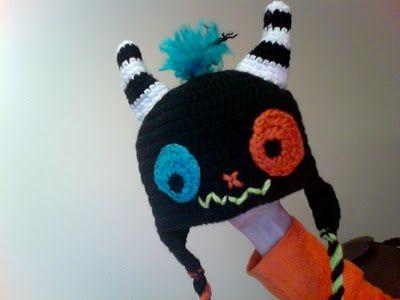 Free Crochet Pattern: http://knottyknotty.blogspot.com/2012/01/maniac-monster-hat.html