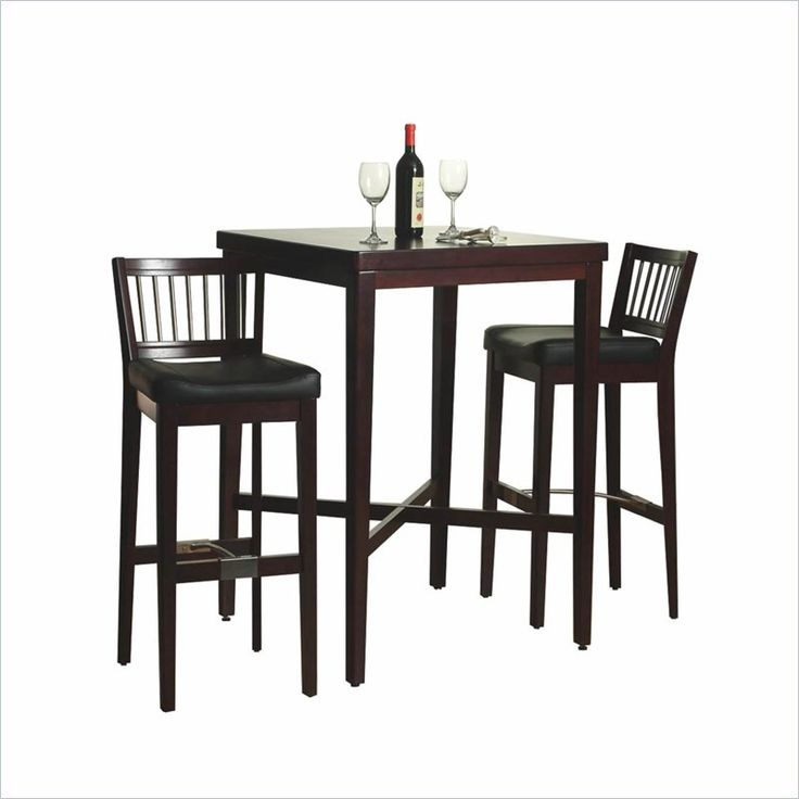 Furniture 3 Piece Solid Wood Pub Table U0026 Bar Stools Set In Cherry   5987