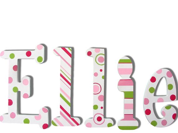 Painted Wall Letters Painted Wooden Name by CuteBoutiqueLetters, $12.00