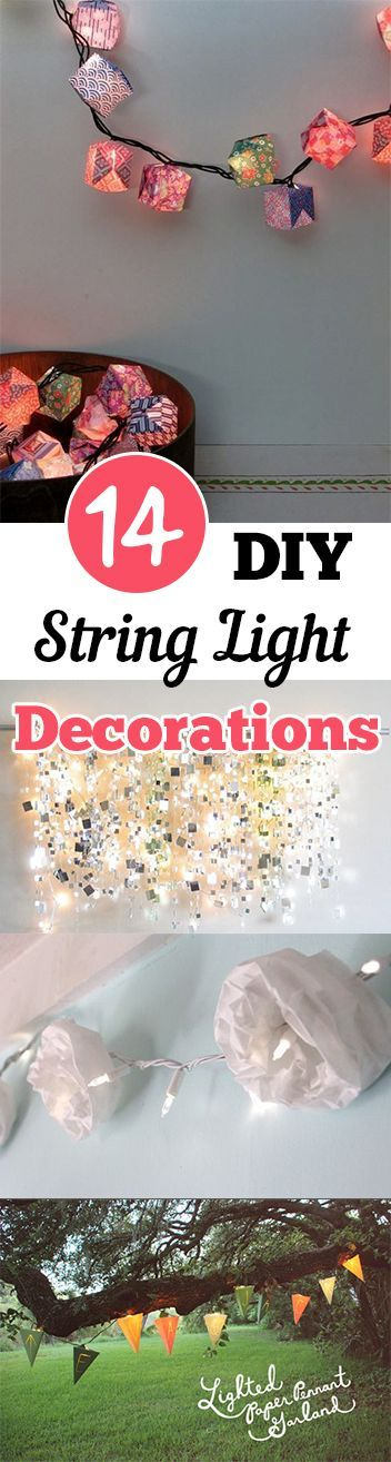 14 DIY String Light Decorations. DIY, DIY home projects, home décor, home, dream home, DIY. projects, home improvement, inexpensive home improvement, cheap home DIY.