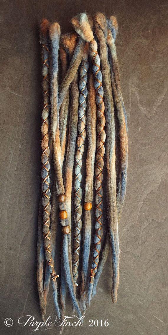 10 Rain Tie-Dye Wool Synthetic Dreadlock *Clip-in or Braid-in Extensions Boho Dreads Hair Wraps & Beads Custom