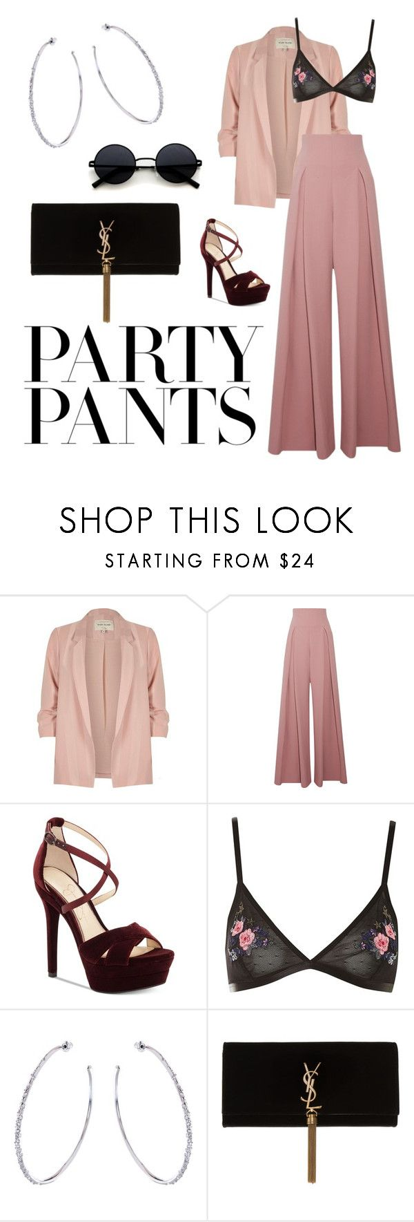 """""""#PolyPresents: Fancy Pants"""" by trinitybrowne ❤ liked on Polyvore featuring River Island, Emilia Wickstead, Jessica Simpson, Topshop, Karen Millen, Yves Saint Laurent, contestentry and polyPresents"""