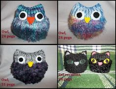 Free pattern for a super cute Loom Knit Owl by Stephanie May. Personalize your owl characters to make it your own. Makes a great gift.