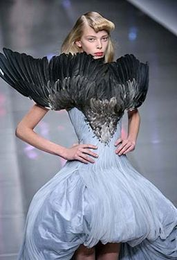 What the hell is this? and who thought that a bird in a downward spiral would make a good dress??