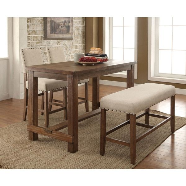 furniture of america telara contemporary natural counter height table natural tone brown oak - Tall Dining Room Tables