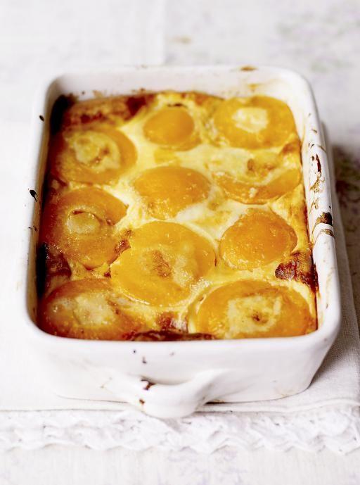 Peach Clafoutis - basicly a super-easy peach pudding recipe | Jaimeoliver.com