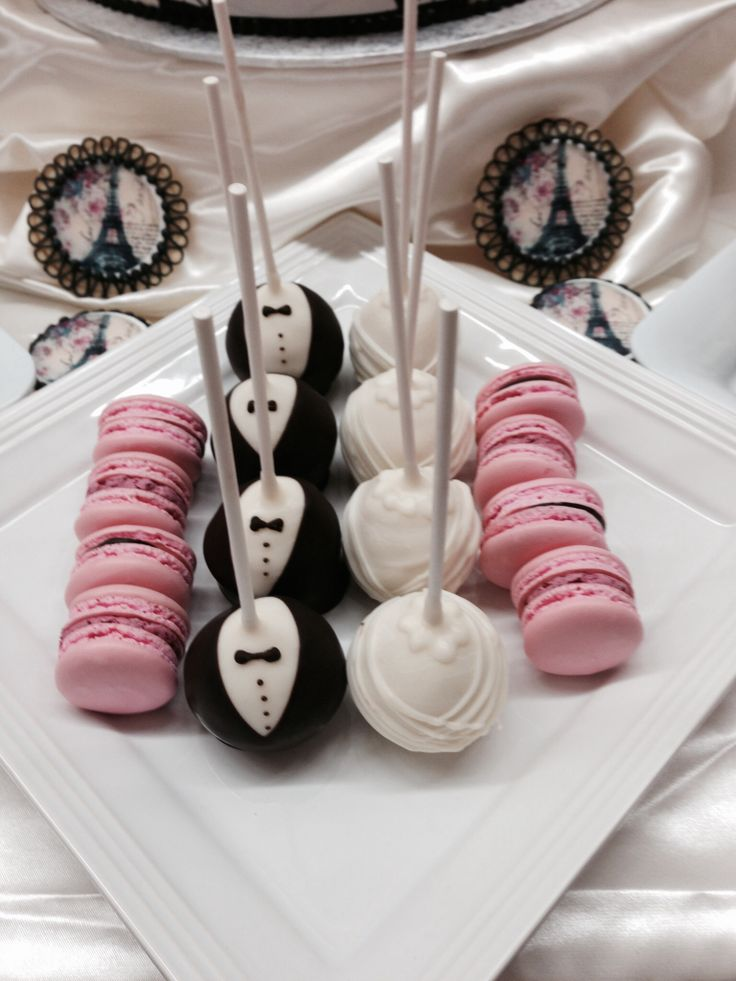 Cake pops and nut-free macarons for our Springtime in Paris sweet table