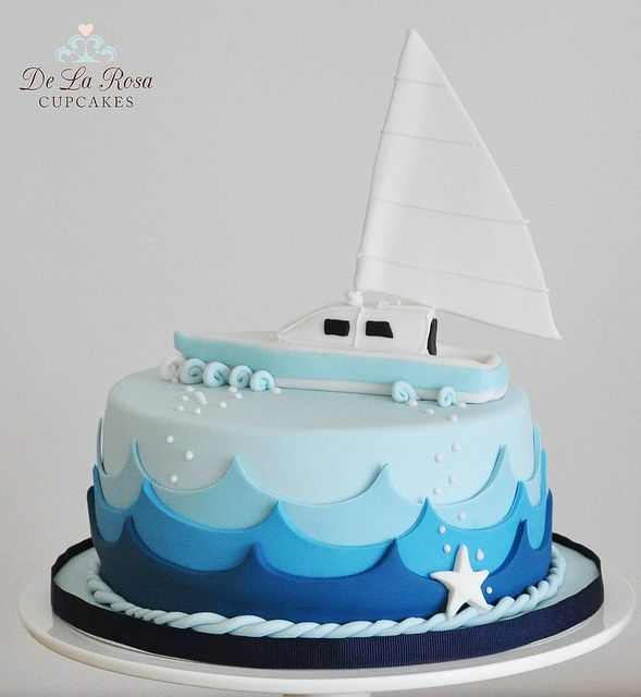 Nautical Cake by De La Rosa Cupcakes - I love it!! Will try and make something like this... :)