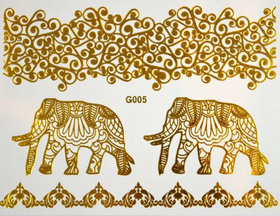 SALE!! Metallic Tattoo Elephant Gold Tattoo Jewelry by LeoToro @ 8.50$CAD