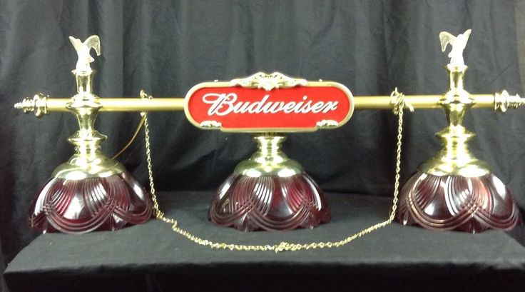 vintage budweiser pool table hanging light game room bar man cave beer. Black Bedroom Furniture Sets. Home Design Ideas