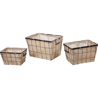 "Store your things in style with these burlap lined wire baskets.Choose a size.  20""L x 13"""