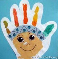 Cómo Pintar un Indio con Pintura de Dedos. Una actividad muy fácil ideal para niños muy pequeños. Si nos fijamos en la imagen veremos que está hecho simplemente imprimiendo la palma de la mano en una cartulina. El resto de...