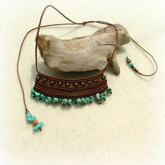 Cleopatra macrame necklace - beaded macrame - brown wax thread with bronze and turquoise gemstone beads