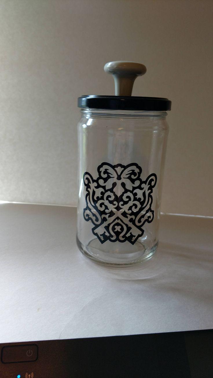 Glass Storage Jar - Black Key Design by TheBlackOnyxBoutique on Etsy
