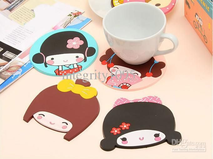 Wholesale /New kawaii silicone lovely girl coffee cup coaster/ cup mat, Free shipping, $1.42-1.58/Piece | DHgate