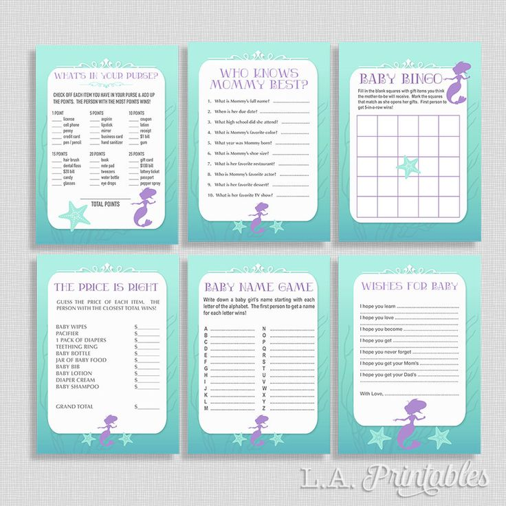 Mermaid Baby Shower Games Package, Six Baby Girl Shower Games, Game Bundle, INSTANT DOWNLOAD