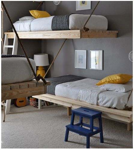 coolest bunk bed set up i've ever seen... but if my future children are as clumsy as i...this may not be the best idea...