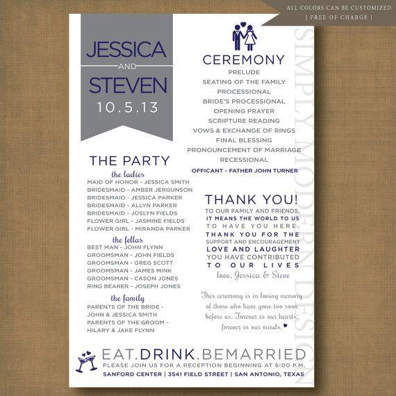 wedding program, unique, fun, programs, wedding party, bridal party