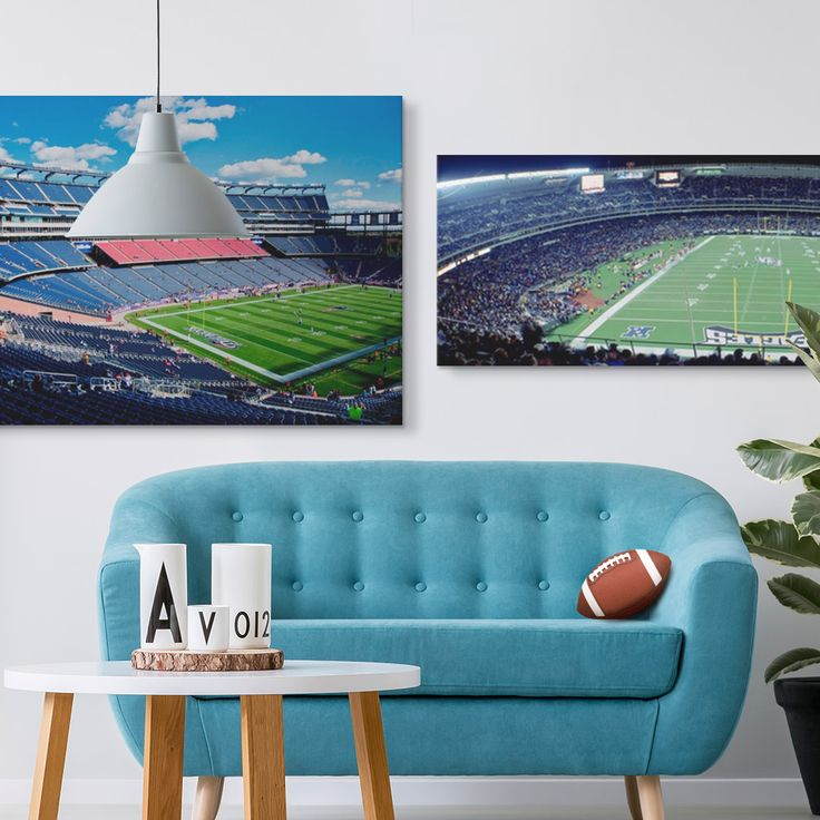 """Elevated view of Gillette Stadium, New England Patriots, Boston, MA"" wall art by Panoramic Images Collection and ""Philadelphia Eagles NFL Football Veterans Stadium Philadelphia PA"" wall art by Panoramic Images Collection"