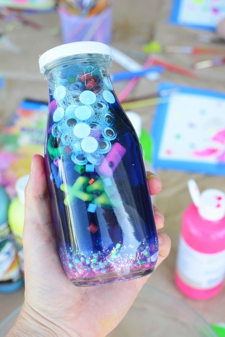 "Make a fun party in a jar with kids. Great alternative to a ""calm down jar."""