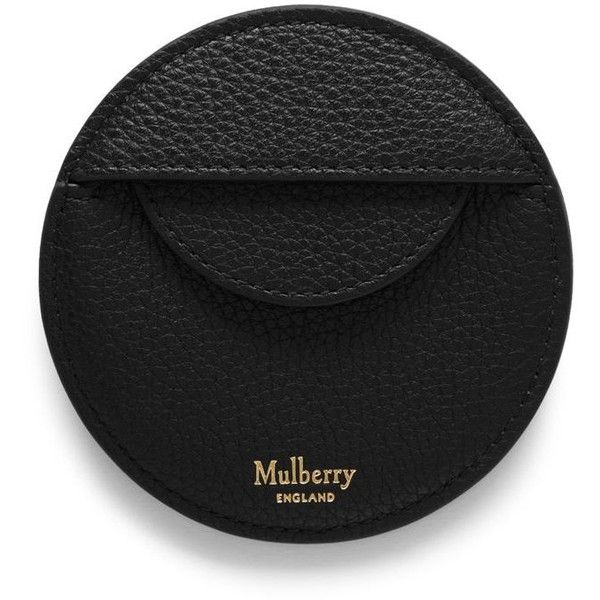 Mulberry Round Coin Purse ($87) ❤ liked on Polyvore featuring bags, wallets, black, pocket coin purse, full grain leather wallet, pocket coin pouch, mulberry bag and mulberry wallet