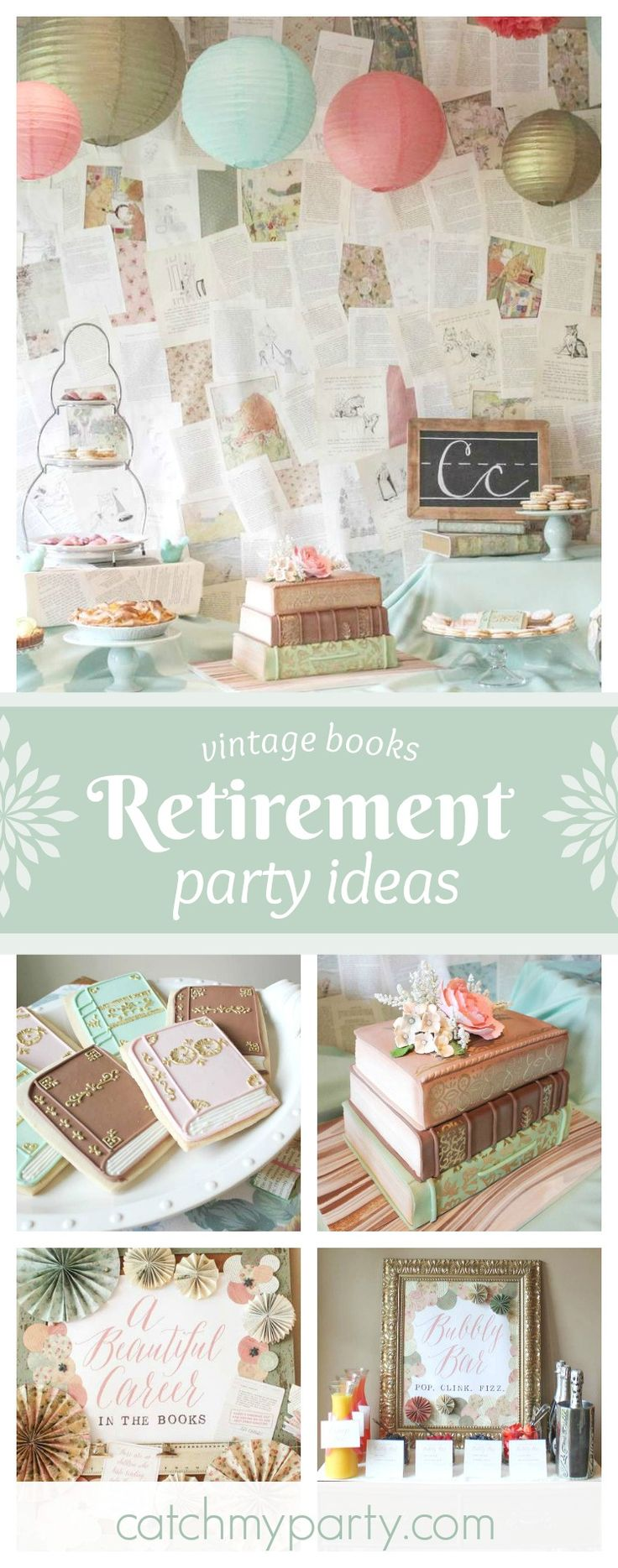 Take a trip back in time with beautiful vintage book themed Retirement party. The stacked books cake is amazing!! See more party ideas and share yours at CatchMyParty.com