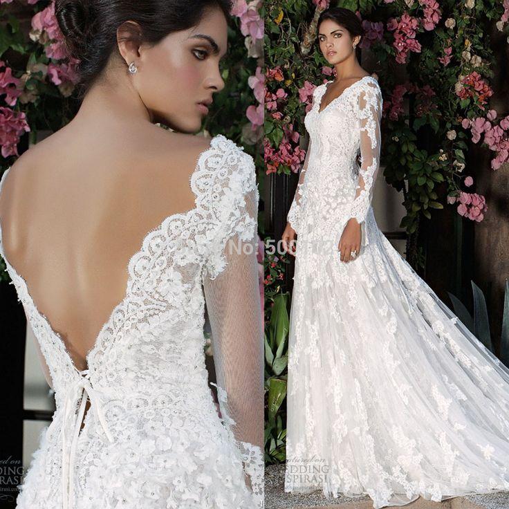 Encontre mais Vestidos de noiva Informações sobre Romântico branco vestido de noiva decote em V manga comprida abrir voltar Lace vestidos de casamento, de alta qualidade rendas de plantas daninhas, vestido de casamento do laço China Fornecedores, Barato headbands renda para as mulheres de Denia's Bridal Co., Ltd. em Aliexpress.com  http://pt.aliexpress.com/store/product/Romantic-White-Bridal-Gown-V-Neck-Long-Sleeve-Open-Back-Lace-Wedding-Dresses/500102_2047789028.html