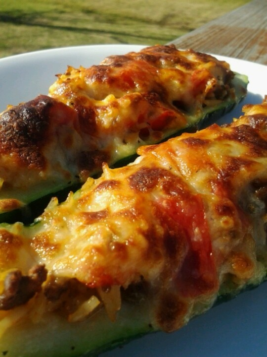 Stuffed Zucchini: mix pre-cooked ground beef, rice, onion, and red ...