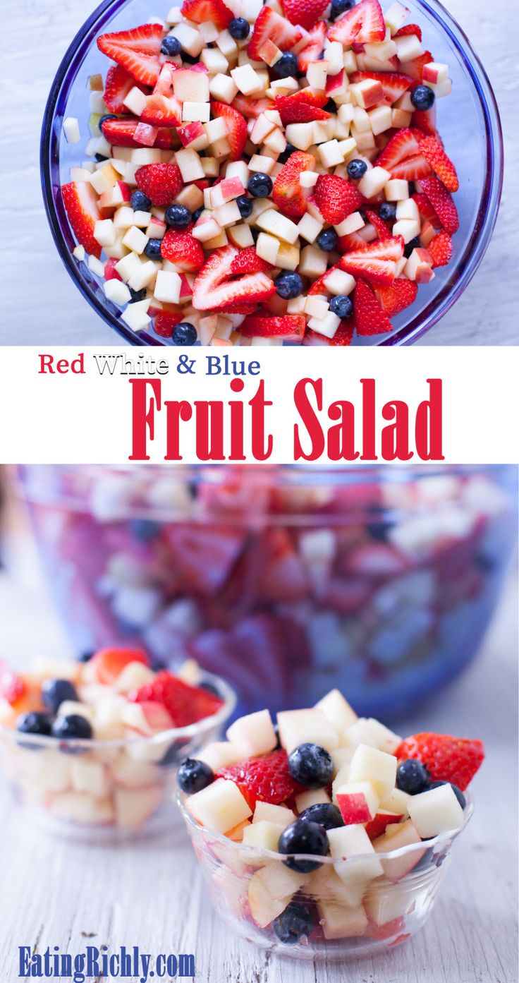 Eating richly even when you're broke | Easy Red White and Blue Fruit Salad Recipe
