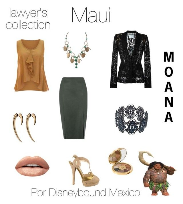 """Maui"" by disneybound-mexico on Polyvore featuring Warehouse, jon & anna, Moschino, Fendi, Huda Beauty, tarte, disney, moana, disneyboundmexico and lawyerscollection"