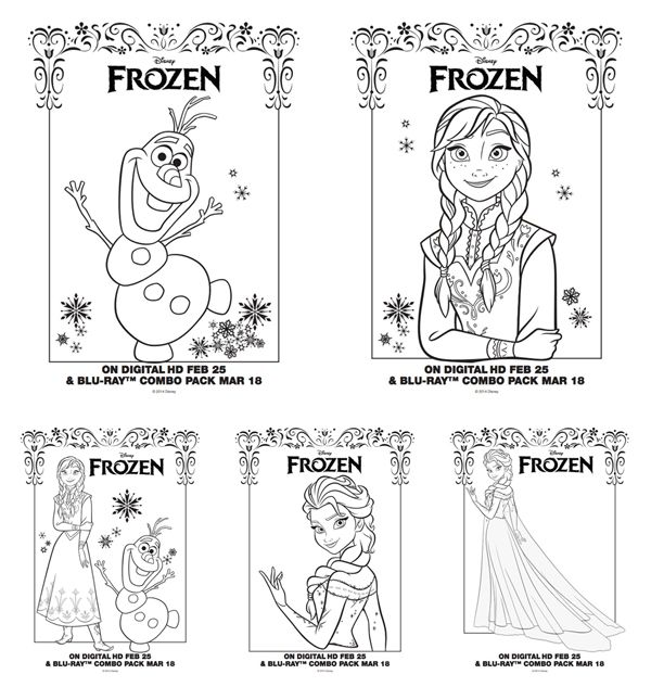 Frozen On Blu Ray DVD PLUS Activity Sheets Coloring Pages