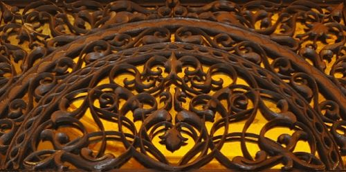 """Beautiful metalwork found above the lobby lift, which combines a mixture of 5 metals, displaying the flora and fauna of nature with intricately carved peacocks. A jali or jaalimeaning """"net"""", is the term used for a perforated stone or latticed screen, usually with an ornamental pattern constructed through the use of calligraphy and geometry"""