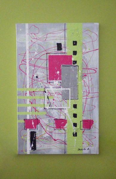 Tableau abstrait rose et vert sur fond gris